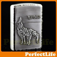 wholesale silvery Lighters Smoking Contracted fashion wolf Material steel plates Z-43 free shipping