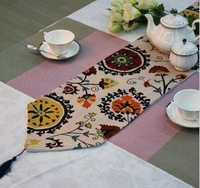Table runner  32*180cmc otton and linen material full-bodied national customs flower printing