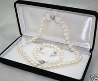 set Jewellery 7-8mm White Pearl Jewellery necklace earring bracelet