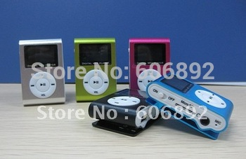 Free shipping 2pcs/lot New LCD Mini Metal Clip MP3 Players with screen For 1G-8G TF Card