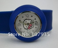 Free shipping 100pcs High quality Silicone Cartoon Slap watch, Hello Kitty kids wrist watches, 10 colors