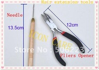 Hair extension tools Pliers Opener + Pulling Needle Micro Loop Rings free shipping