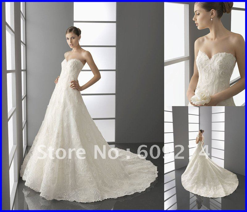 Free Shipping Strapless Backless Wedding Dress Lace Applique Wedding Dresses