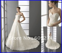 Free Shipping Strapless Backless Wedding Dress Lace Applique Wedding Dresses 2012 Designer Ball gown Bridal Gown