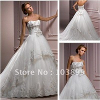 New Style Fresh Looking Ball Gown Strapless Ivory Two Layers Tulle White Princess Wedding Dress