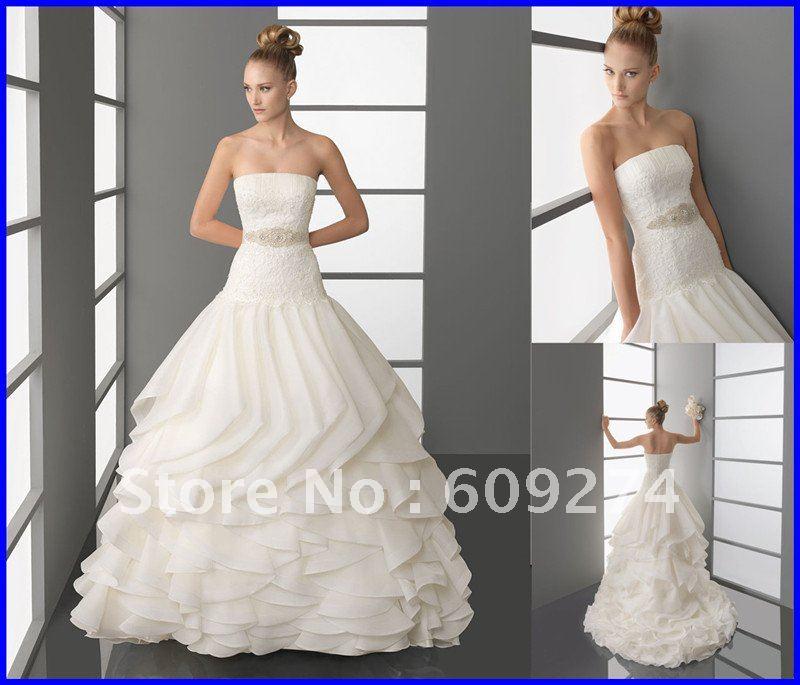 Free Shipping Strapless Backless Wedding Dress Chiffon Beading Wedding