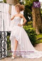 AWB0226 Italian Romantic High Low Lace Corset Wedding Dresses