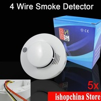 5 x Four 4 Wire Photoelectronic Smoke Fire Detector Security Sensor for Wired Alarm System AT-608PC-4, Free Shipping