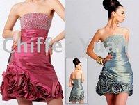 Fast Freeshipping Hot Sale Elegant Beaded Taffeta Cocktail Dresses