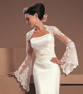 Free shipping Bride shawl Long/sleeved lace car bone flowers Wedding shawl Bolero Jackets/Organza Bridal Jacket