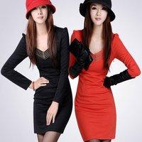 Женское платье Women's Black Sexy dress gauze Splice Slim Long sleeve Bottoming shirt