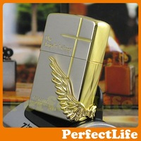 Wholesale golden Lighters Smoking Contracted fashion Cross Material steel plates Z-49 free shipping