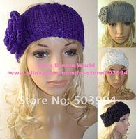 New Ladies' Knitted Neck warmer hair accessories Crochet flower hair headband  (TD-10)