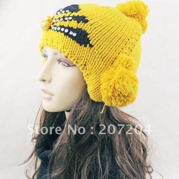 Wholesale 5 PCS/lot Fashion Cute Winter Warm Felt women Ear muff Hat Caps Snowflakes design Best Christmas Gift