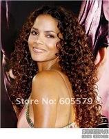 New beautiful long brown hair curl fashion wig