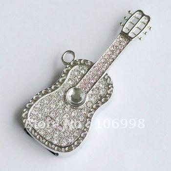 8GB USB 2.0 Flash Drive Stick Swarovski Guitar Guaranteed Full Capacity 8G U Disk Jewelry Memory Pen Drive Card Key New
