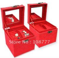 Open Xin Bao European rabbit three tier jewelry  / Trinket / storage box - red  Free shipping!!! / hot sales /Wholesale