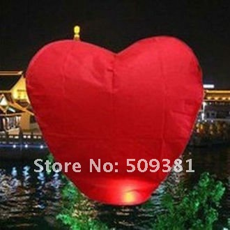 99 pcs/Lot, Free Shipping, Hearted-Shaped Chinese Conventional  Festival Flying Sky Lanterns, Wishing Lanterns