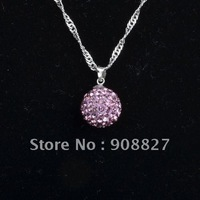 Shamballa Necklace, 12mm Lilac Crystal Disco Ball Shamballa Pendant Necklace, Charm Necklace, with Gift Box, Free Shipping