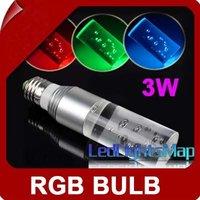 EMS Free Shipping  3W E27 RGB  Lights Crystal LED Light Bulb + Remote Control 220V 5pcs/lot Wholesale