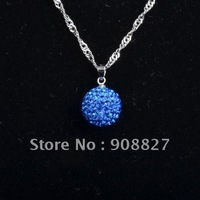 Shamballa Necklace, 12mm Royal Blue Crystal Disco Ball Shamballa Pendant Necklace, Charm Necklace, with Gift Box, Free Shipping