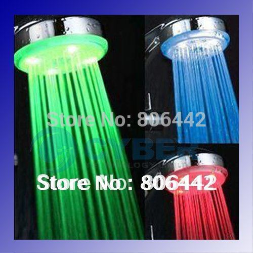 LED Temperature Control Romantic 3 Colors Light Bathroom Shower Head(China (Mainland))