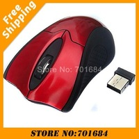 Free Shipping 10 pcs lot Wholesale & Retail 2.4G USB Mini Optical Black/Red Wireless Mouse 500DPI/1000DPI For PC Laptop [DN02]