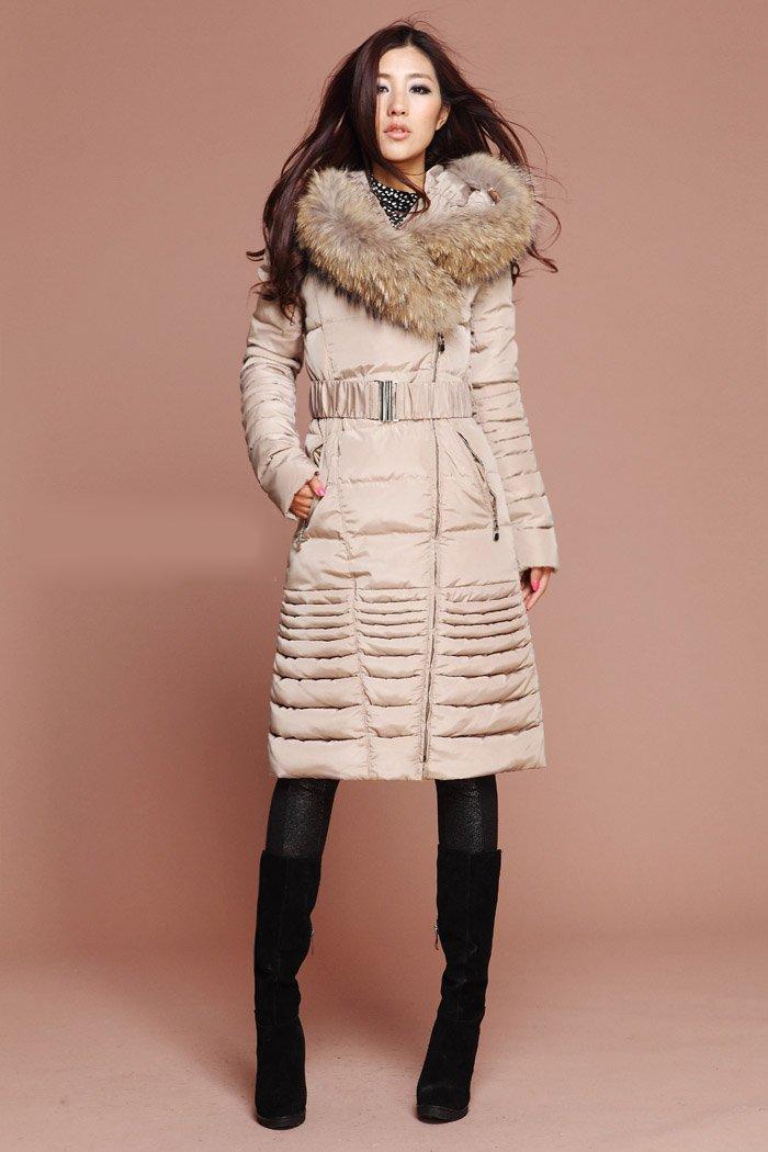 2017 Wholesale Women Winter Coats Long Down With Faux Fur Collar
