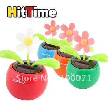 1Pcs/lot Solar Powered Flip Flap Flower Cool Car Dancing Toy [5461|01|01]
