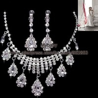 Free Shipping New Style Clear Glaring Crystal Rhinestones Costume Wedding Bridal Jewelry Set Necklace Earrings BJ007