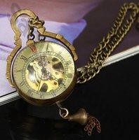 hot selling 6pcs/lot Steampunk Brass Copper Glass Ball Mechanical Pocket Watch Necklace WN11028