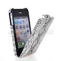 SNAKE SKIN FLIP HARD BACK CASE COVER FOR APPLE IPHONE 4 4G 4S FREE SHIPPING