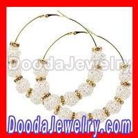 cheap 70mm Basketball Wives Rhinestone Hoop Earrings wholesale BW3044 Free Shipping