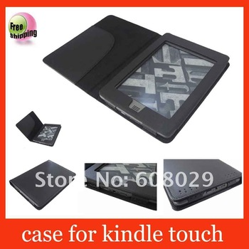 leather case for Amazon kindle touch 3G+wifi Ereader,free shipping,Black