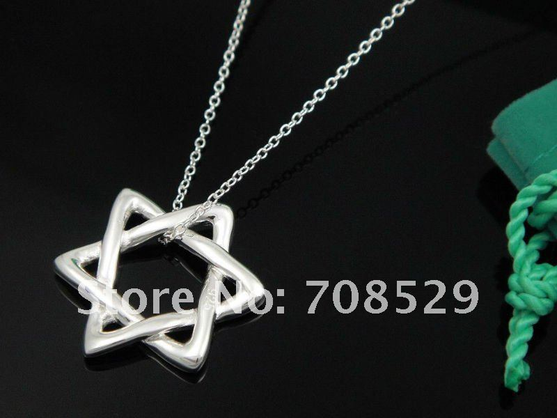 New fashion 925 Sterling Star of David pendant necklace, send silver cleaning cloth S37(China (Mainland))