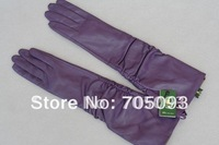 45cm long genuine leather gloves purple ruffle free shipping customerized gift
