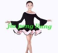 New Girl's Dance Clothing Girl's Latin Dancerwear Children's Training Dresses Stage Wear S,M,L,XL Free Shipping