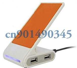 Free shipping 4 Ports LED USB 2.0 High Speed  Cell Mobile Phone Holder Stand Hub
