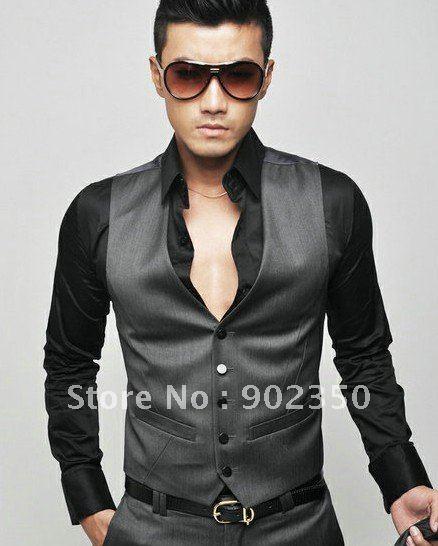 Men vest suit vest top v neck slim fit luxury business dress vest jpg
