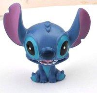 Free shipping  Hot Sale!!!Wholesale Fashion Plastic Cute PVC Sucker Blue Laugh Stitch Doll Mobile Phone Sticker