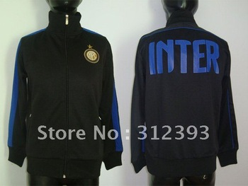 New Arrival 2011-2012 thai quality new Inter Milan black football soccer jacket/coat, soccer jackets tracksuit kits