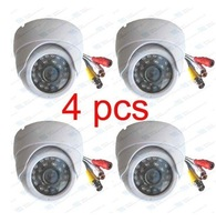 4PCS Day Night vision wide angle with Audio CCTV color Camera with audio output
