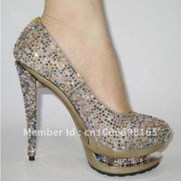 2011 two paragraph waterproof, high heels shoes,colorful diamond women shoes