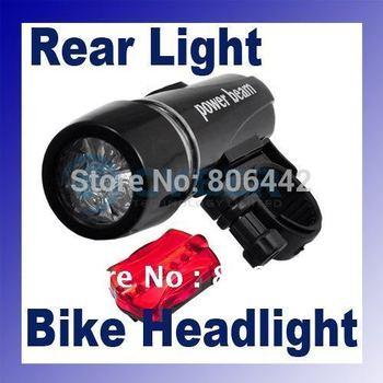 Hot selling 2in1 LED Bike Bicycle Head Light+Rear Flashlight 184
