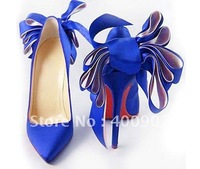Blue satin bridal dress shoes, bowtie high heel bride wedding dress shoes