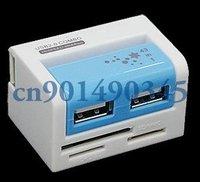 Free shipping 2 Port USB Hub Combo SD/MMC Micro/SD M2 MS Card Reader