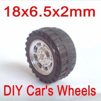 18x6.5x2mm (100pcs/lot) Academic Model Small Plastic Toy Car Wheels DIY Hobbies Parts and Accessories