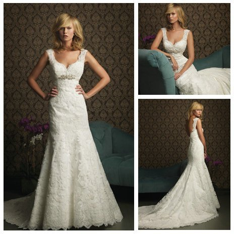 Free Shipping Ivory Lace High Quality Backless Lace Wedding Dresses