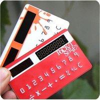 [ 30 pcs / lot ]Solar card mini calculator Mini Pocket Solar Power Credit Card Calculator solar energy calculator