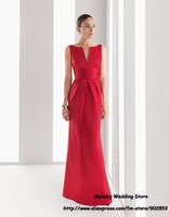 Custom Made 2012 Best Selling Sheath Bateau Sash Ruched Satin Red Sexy Mother of Bride Dresses Evening Dress Formal Gown RS01